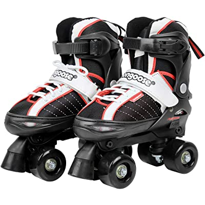 Mongoose Roller Skates for Boys and Girls – Quad Adjustable Roller Skates Size 1 – 4 : Sports & Outdoors