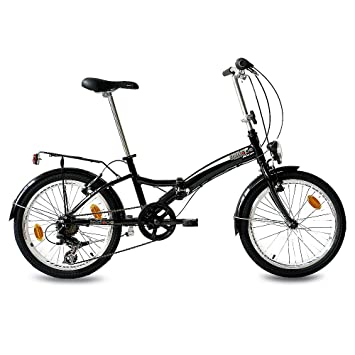 "KCP 20"" FOLDING BIKE ALLOY CITY BIKE FOLDO 6 speed SHIMANO Unisex black (s"