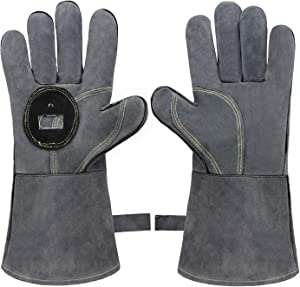 OZERO 932°F Fire Heat Resistant BBQ Gloves Leather with Bottle Opener Extra Long Sleeve for Oven/Grill/Fireplace/Furnace/Stove/Forge Safety/Mig/Welding/Pot Holder
