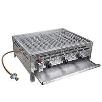 Tischbräter vidaXL 3-flammig 2+1 Gas Brenner silber Edelstahl kleiner Tableroaster Balkon ✔ eckig ✔ Grillen mit Gas ✔ für den Tisch
