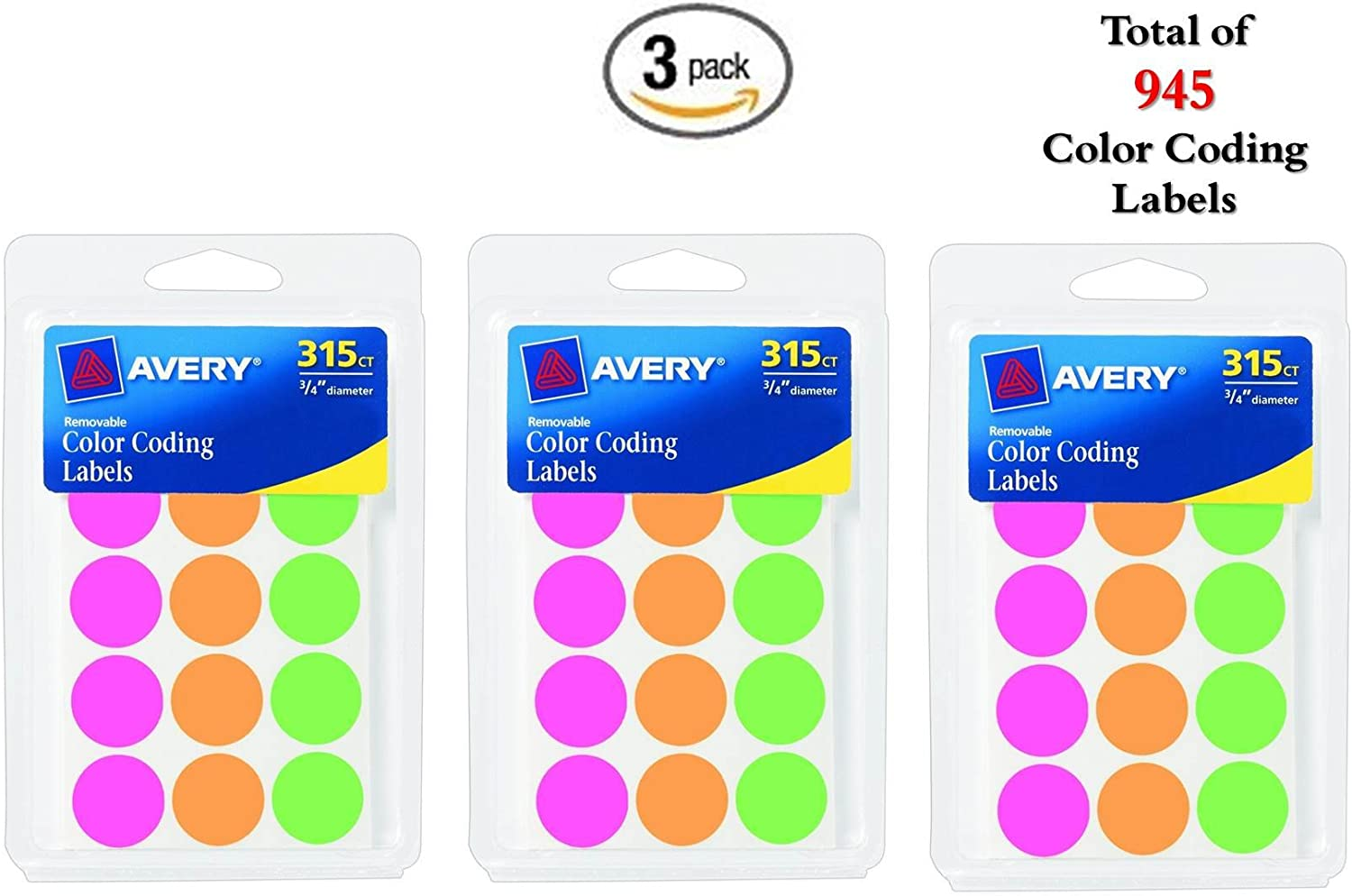 Removable 0.75 Inch Avery Round Color Coding Labels 315 Labels Assorted