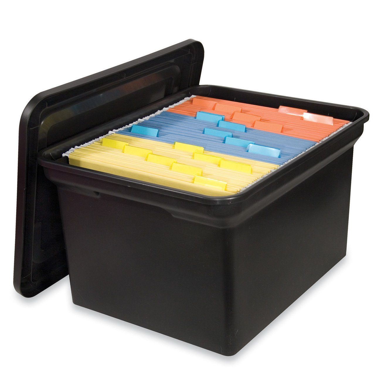 Amazon.com : S.P. Richards Company Hanging File Tote With Lid, 14 1/8 X  17 7/8 X 10 3/4 Inches, Black (SPR26384) : Storage File Boxes : Office  Products