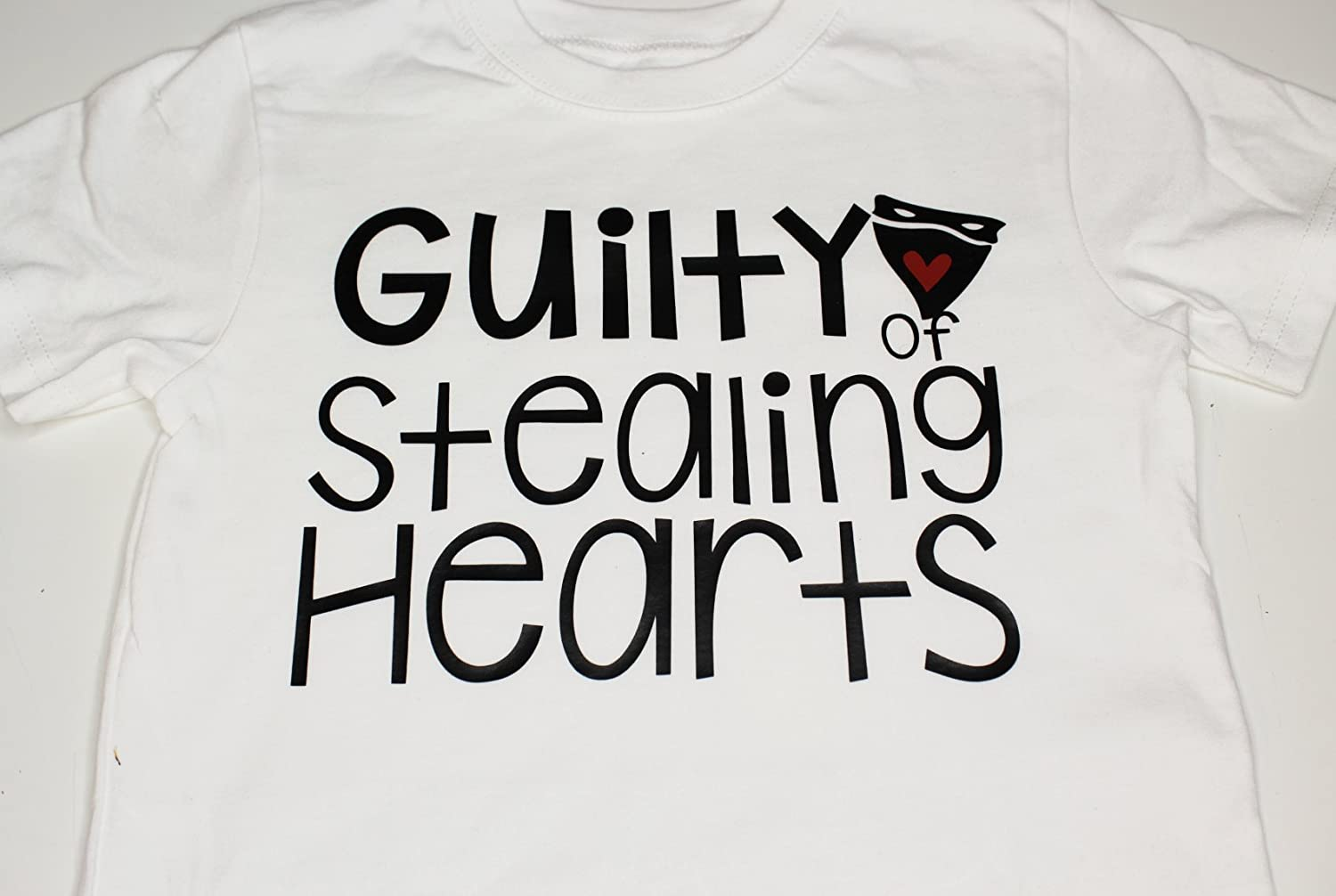 Boys Valentines Day Shirt or Onesie Bodysuit Guilty of Stealing Hearts Love Bandit Toddler Red Black Cute