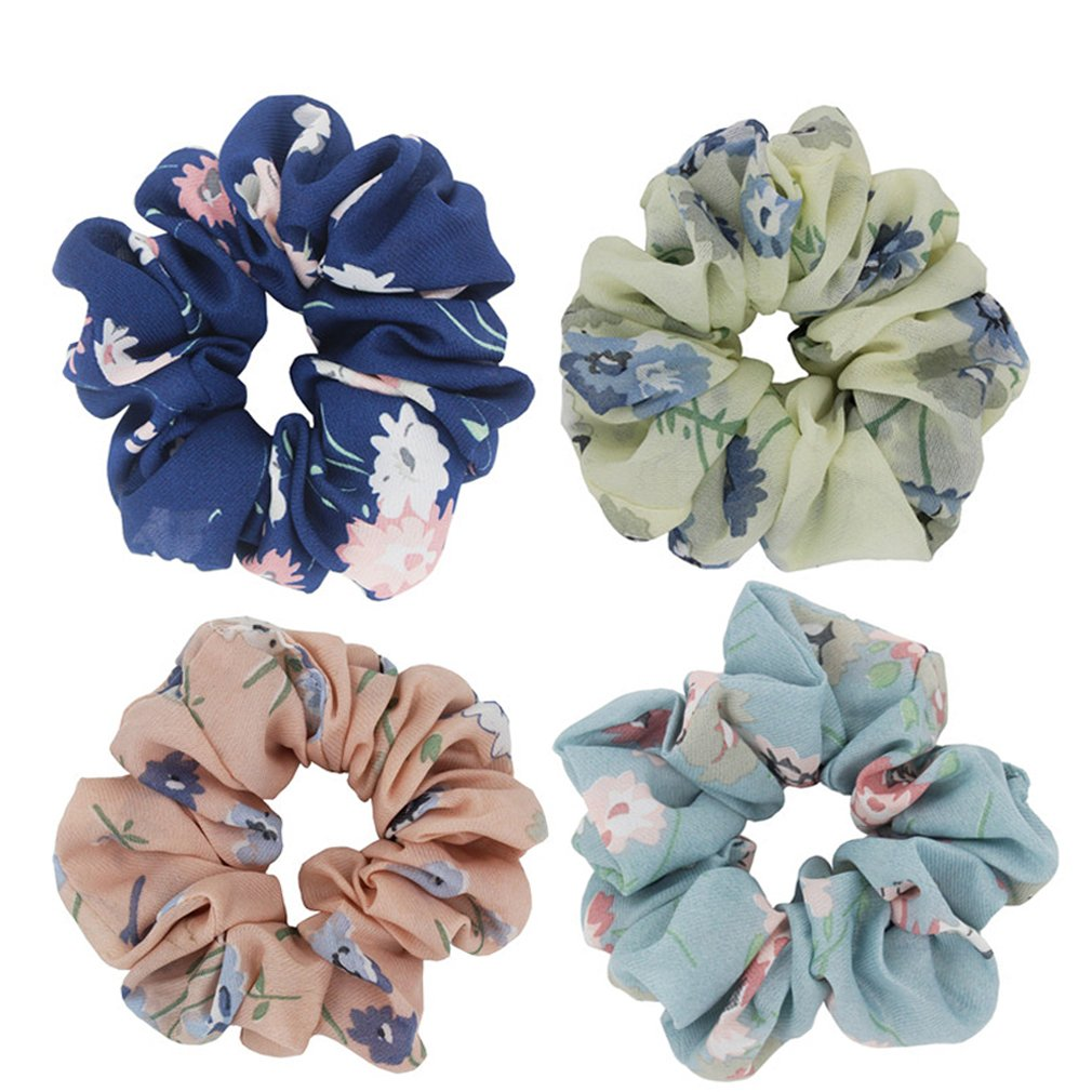 Set of 4PCS Orchid Flower Print Chiffon Hair Scrunchies