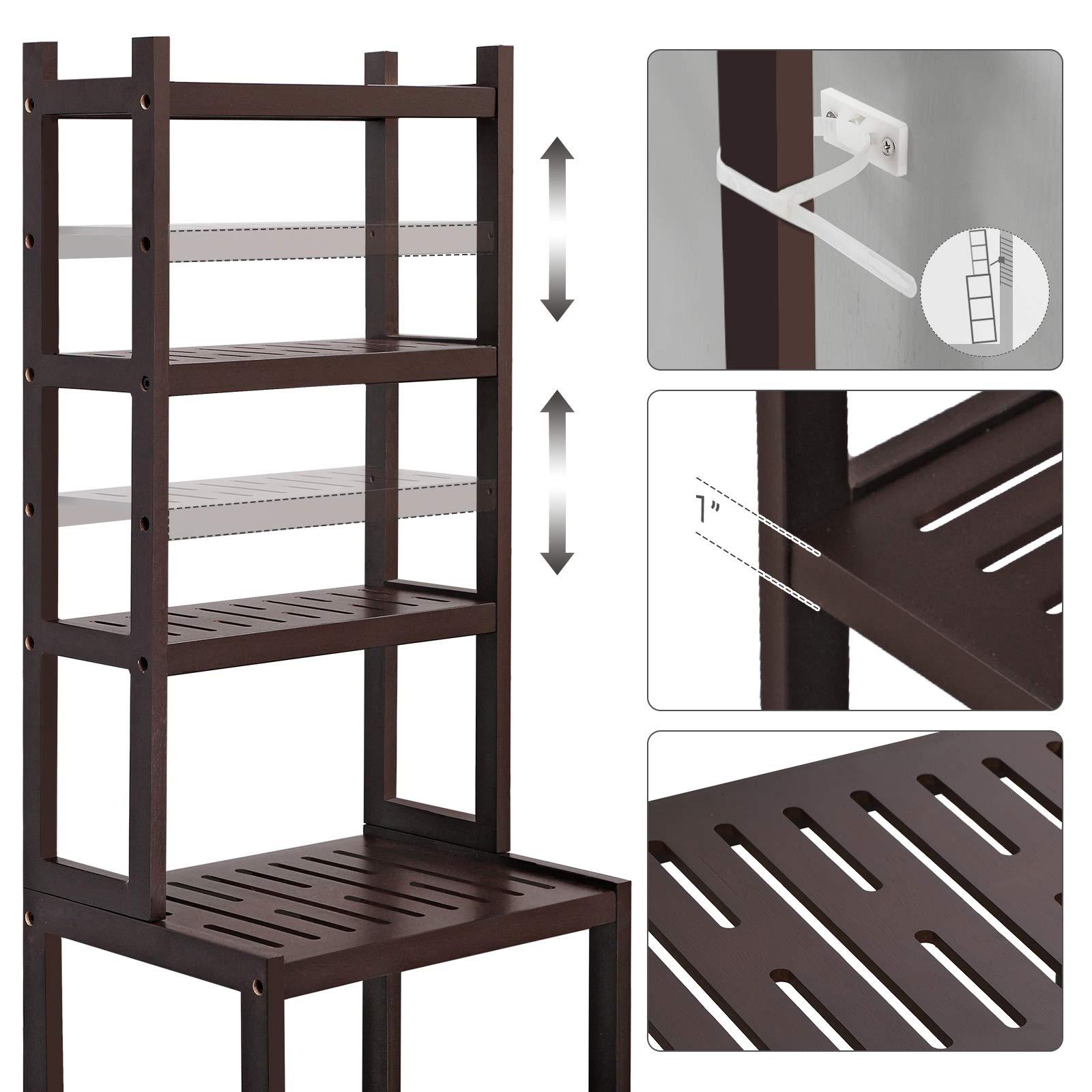 SONGMICS 7-Tier Bamboo Bathroom Shelf, 2-in-1 Design Adjustable Storage Rack, Free Standing Multifunctional Organizer, Shelving Unit for Washroom, Living Room, Kitchen, Brown UBCR01BR by SONGMICS (Image #7)