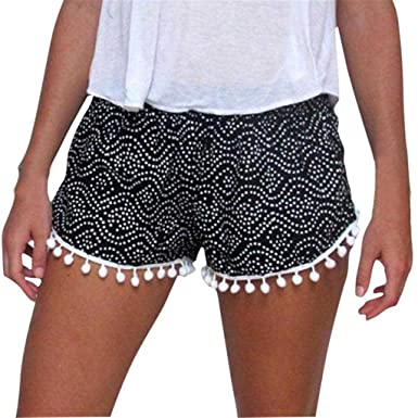 Bluester Women Boho Polka Dot High Waist Tassel Shorts 2fefa7a55d8