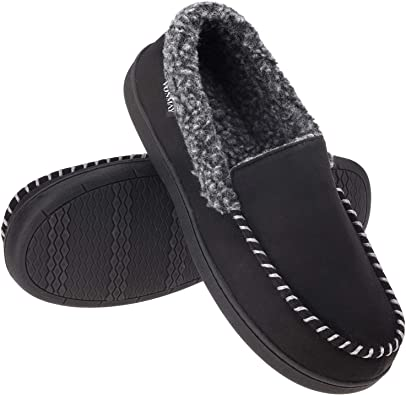 Men/'s Fuzzy Moccasin Slippers Memory Foam Indoor Outdoor House Shoes Size 6-11