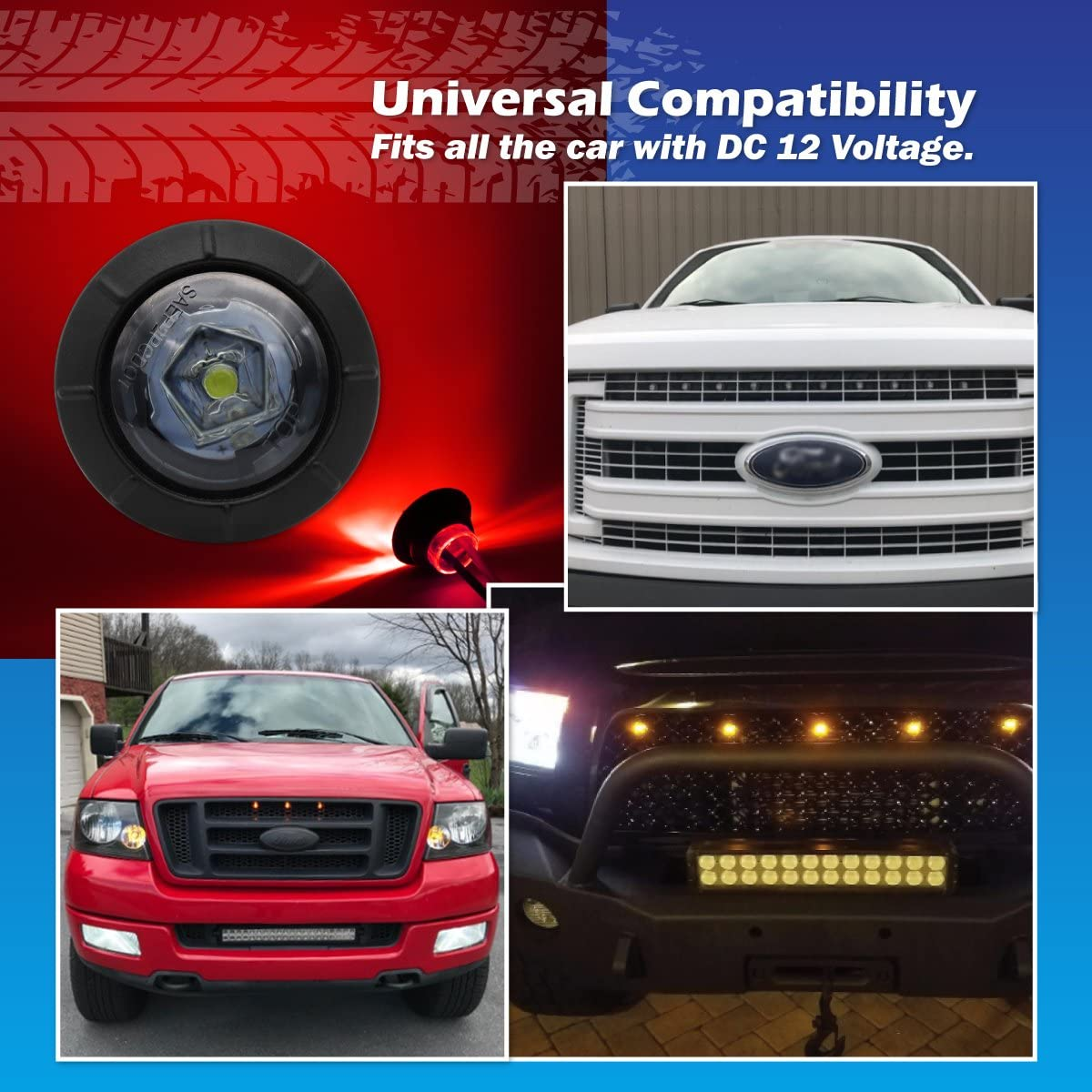 Special Generation 3//4 inch Round Smoked Lens 5 Amber Meerkatt Pack of 10 5 Red LED SMD Side Marker Clearance Indicators Lights 2 Pin Plug black rubber grommets Trailer Boat RV Truck 12V DC XT-DC