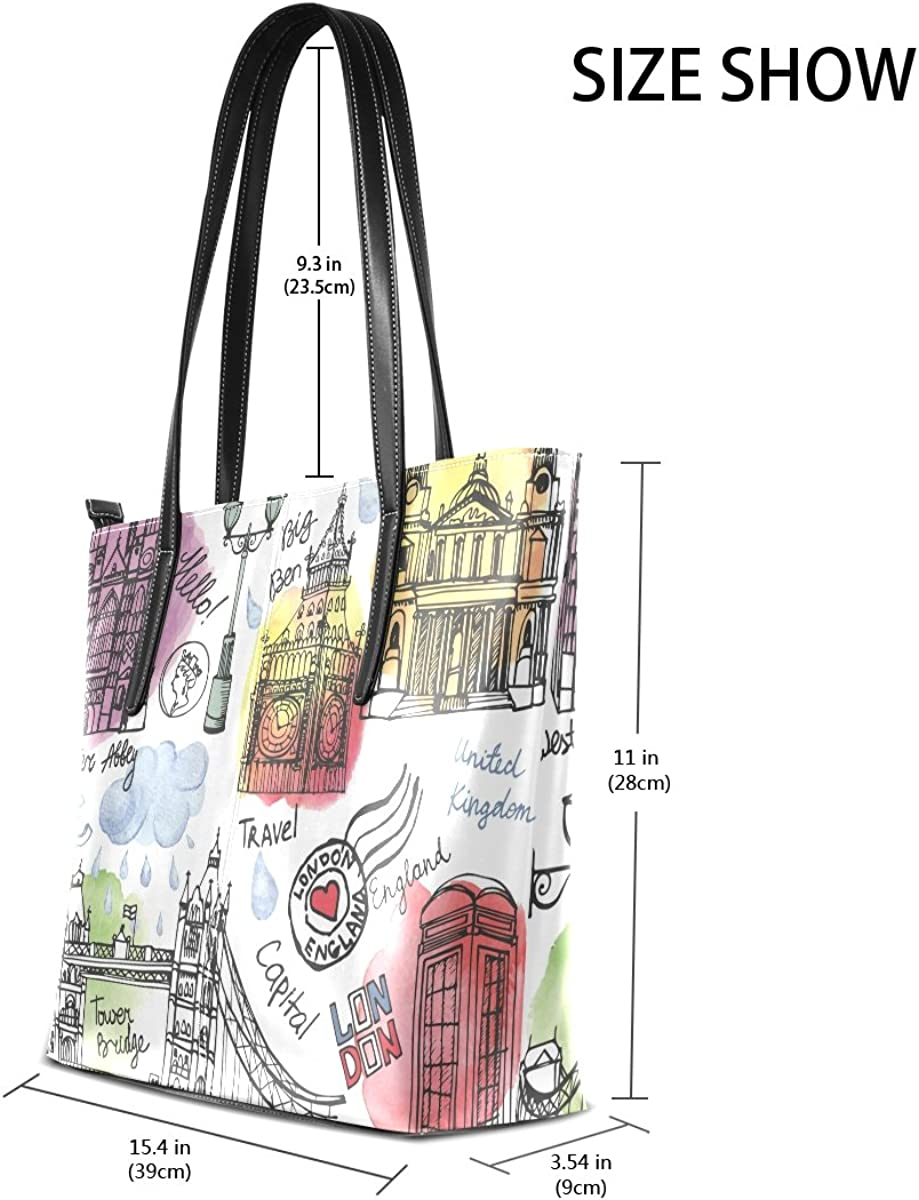 Ethel Ernest Welcome England London Travel Purse PU Leather Shoulder Tote Bag Purse for Womens Girls Ladies