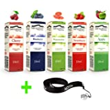 50ml E-Liquid - 5 Flaschen mit je 10ml Liquid für E-Zigaretten - inklusive ein kostenloses Nox24 Halsband (EGO) - ohne Nikotin - Set: (Frucht)