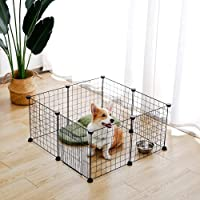 PAWZ Road Pet Dog Panel, DIY Small Animal Cage Kennel for Rabbit, Guinea Pigs, Puppy   Metal Wire Fence 8 Panels with…