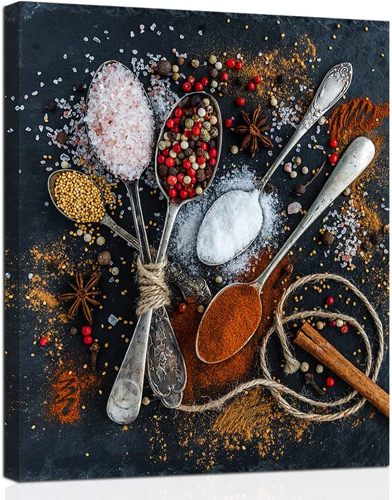 Anddy Colorful Spices Canvas Wall Art Cooking Seasoning Picture Painting Salt Spoon Poster Print Home Kitchen Framed Decoration Living Room Restaurant Dining Room Decor Stretched Artwork Easy to Hang