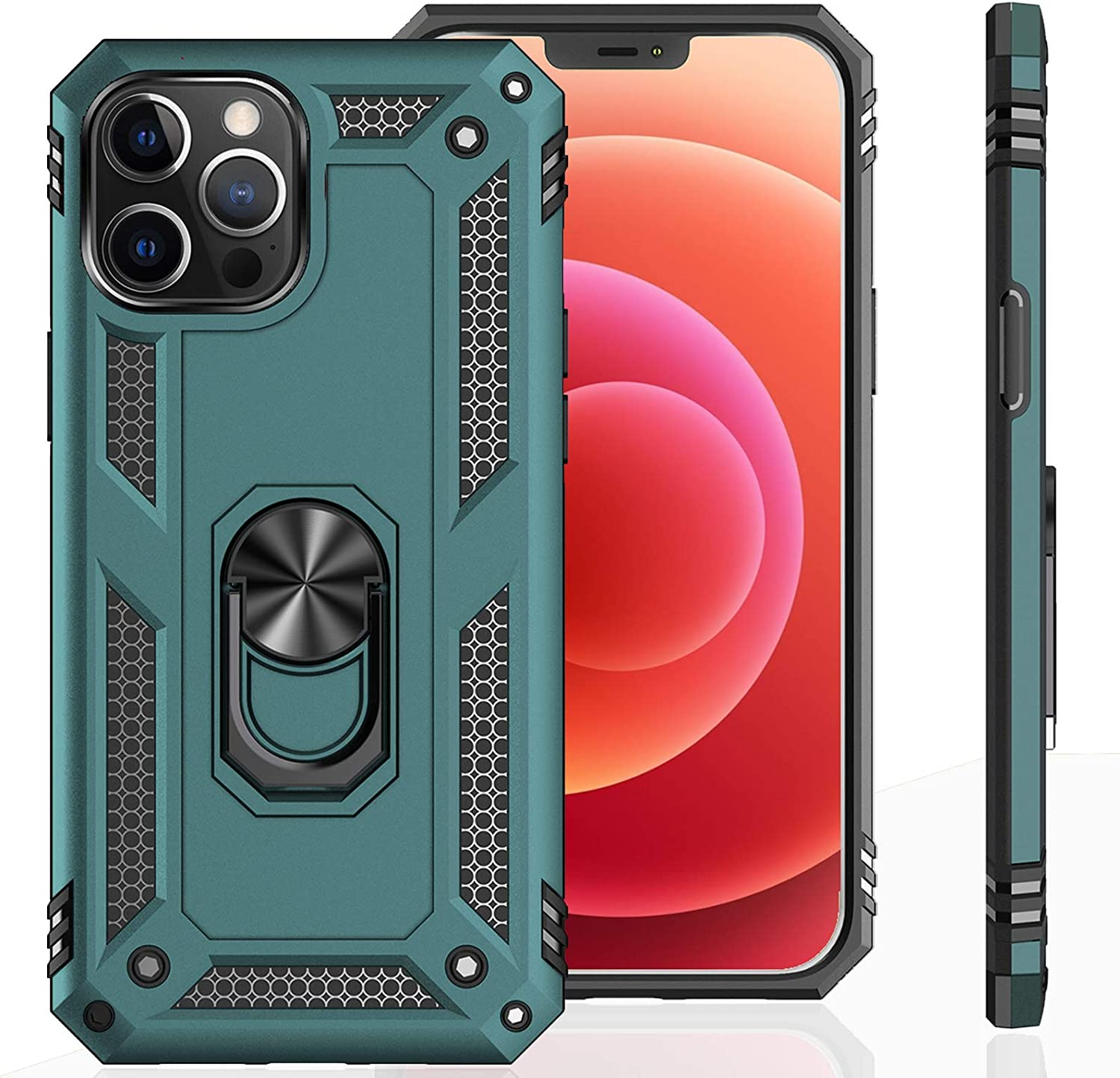 UNKNOK Compatible with iPhone 12 5G Case, iPhone 12 Pro 5G Case [Military Grade ] Drop Tested Metal Rotating Ring Kickstand Magnetic Support Cover for iPhone 12 and iPhone 12 Pro 6.1 Inch (Green)