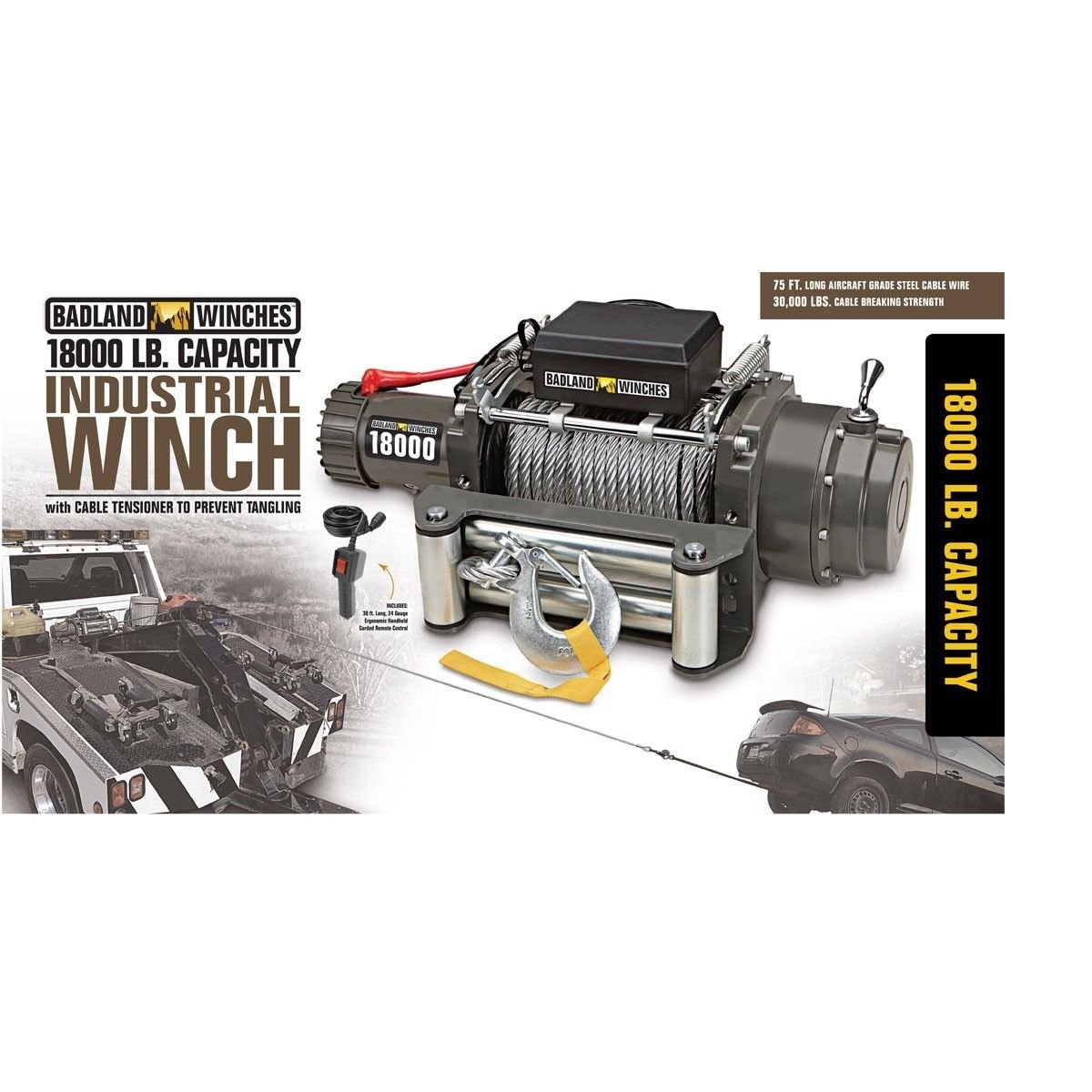 18000 lb Industrial / Tow Truck Electric Winch with Automatic Load ...