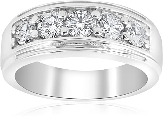 Mens Diamond Wedding Ring 10K White Gold