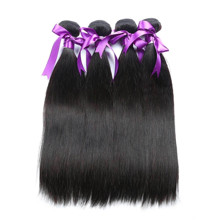 マレーシアのストレートヘア4本の人間の髪の束非レミーの毛の延長天然黒体毛髪のかつら かつら (Length : 22 24 26 28) B07THX6D5K  22 24 26 28