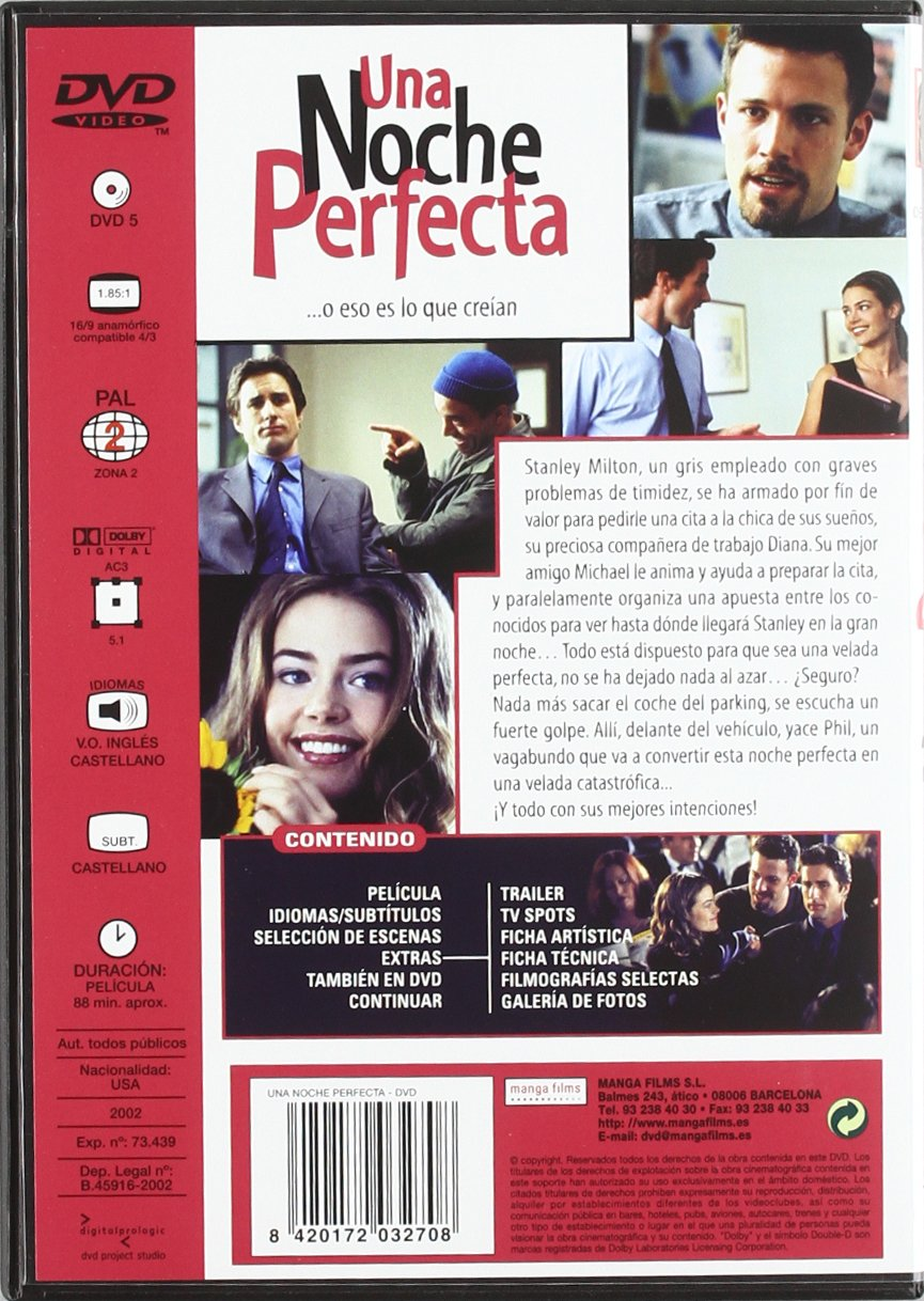 Una Noche Perfecta 2002 [DVD]: Amazon.es: Denise Richards, Jay Lacopo, Ben Affleck, Luke Wilson, Varios, Jordan Brady: Cine y Series TV