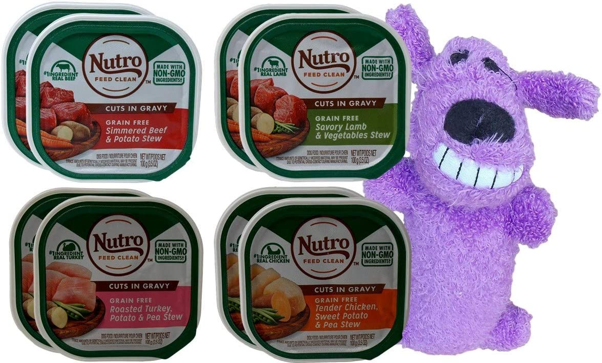 Nutro Grain Free Cuts in Gravy Dog Food 4 Flavor 8 Can with Toy Bundle, (2) Each: Beef Potato, Lamb Vegetable, Turkey Potato, Chicken Sweet Pea (3.5 Ounces)