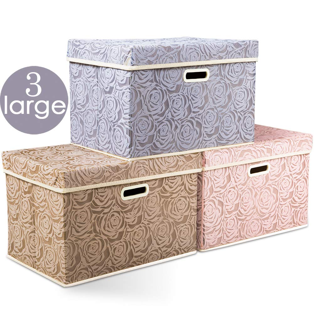 Prandom Large Stackable Storage Bins with Lids Fabric Decorative Storage Box Cubes Organizer Containers Baskets with Cover Handles Divider for Bedroom Closet Living Room 17.7x11.8x11.8 Inch 3 Pack by Prandom