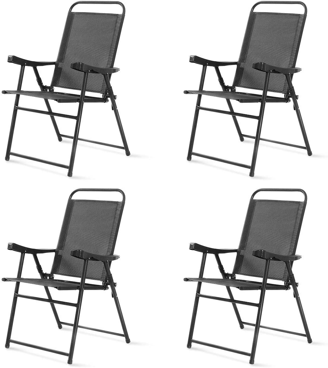 Safstar Folding Sling Chairs, Patio Furniture Chair Set with Armrest for Lawn Garden Dark Gray 4PCS