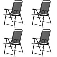 Safstar Folding Sling Chairs, Patio Furniture Chair Set with Armrest for Lawn Garden (Dark Gray 4PCS)