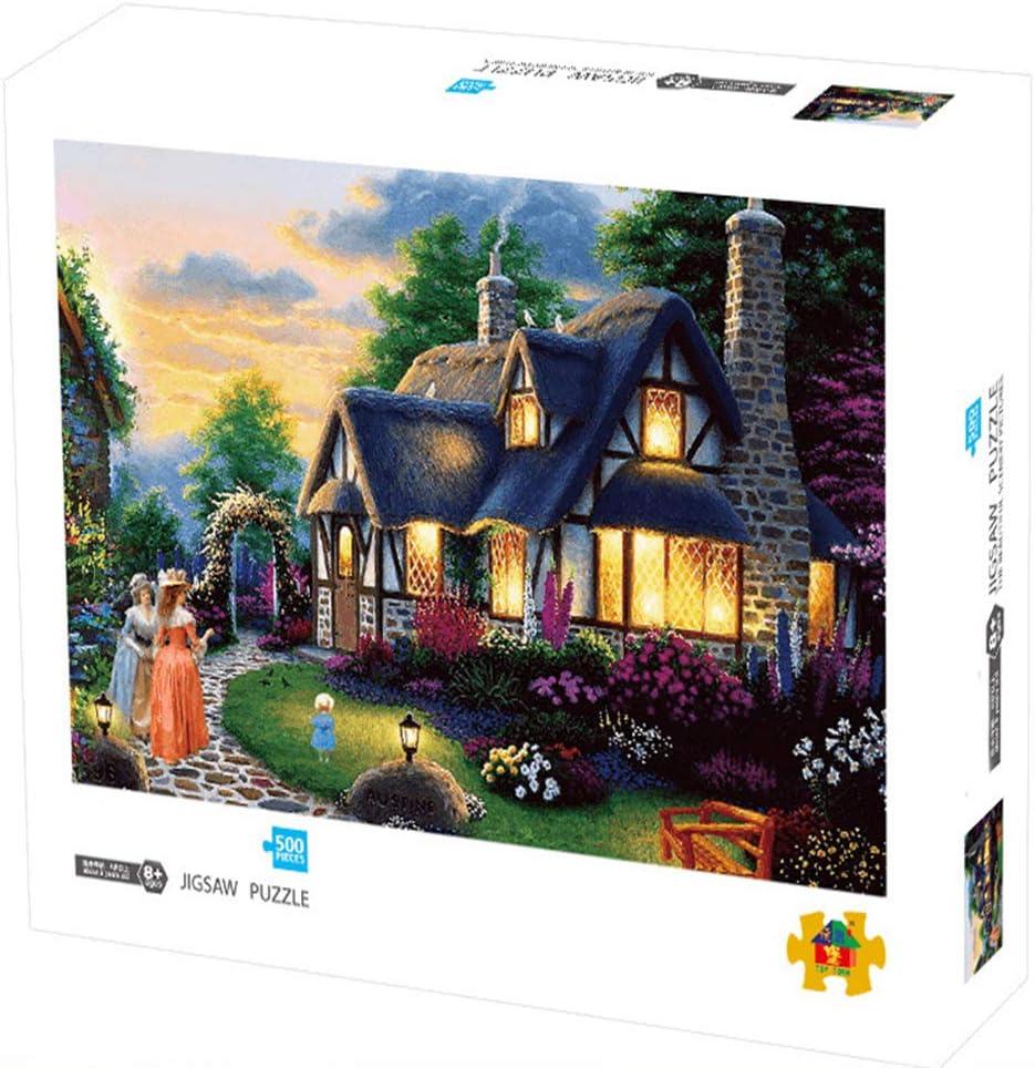 Herize Puzzle 500 Piezas para Adultos Niños | Paisajes de Castillo del Jardín Puzzle Niños Regalos Hombre Intelectual Juguetes Educativos Puzzle Adultos Niños Decoración del Hogar 50X40 CM