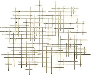 Bellaa 27079 Metal Wall Art Geometric Abstract Modern Cross 37 Inch Light Gold (Light Golden 27079)