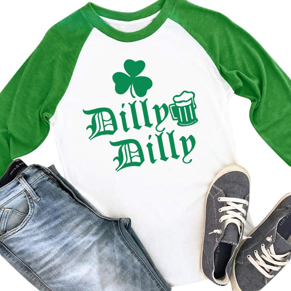 Spadehill St. Patrick's Day Womens Long Sleeve Green Clover Raglan Shirt SP201I03