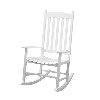 Admirable Amazon Com Wood Slat Outdoor Rocking Chair White Garden Creativecarmelina Interior Chair Design Creativecarmelinacom