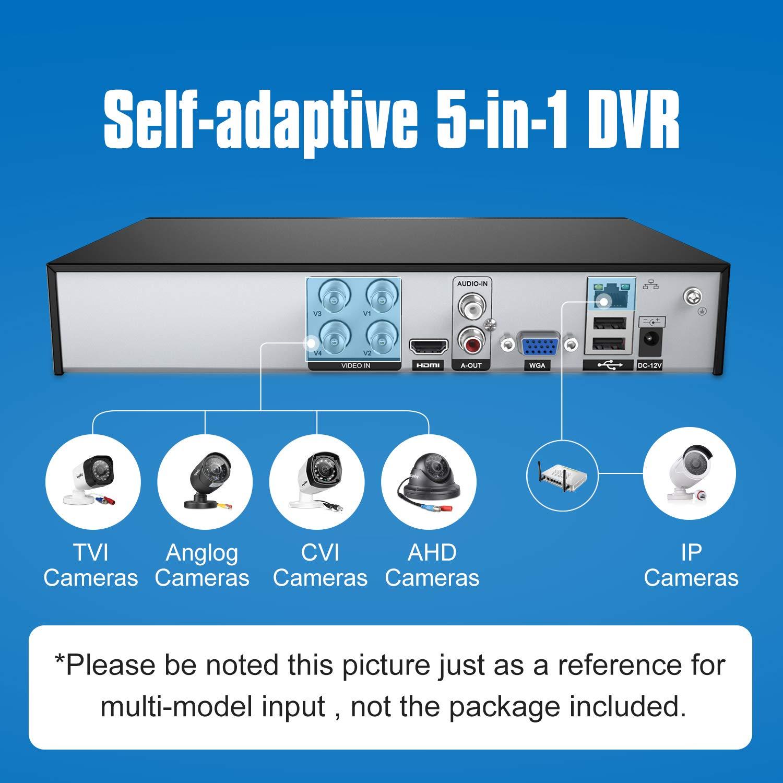 SANNCE 4 Canales DVR 5-en-1 TVI Grabadora de Video Full 1080N/720P (HDMI P2P Onvif Android/iOS APP Detección Movimiento Alarma Email, PTZ para Cámara ...
