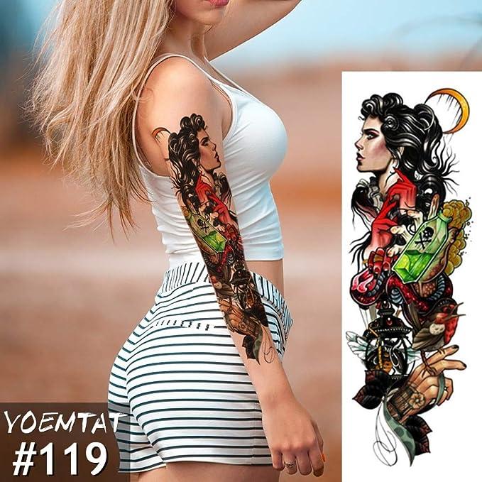 tzxdbh Manga del Brazo Grande Tatuaje Catrina cráneo Chica ...