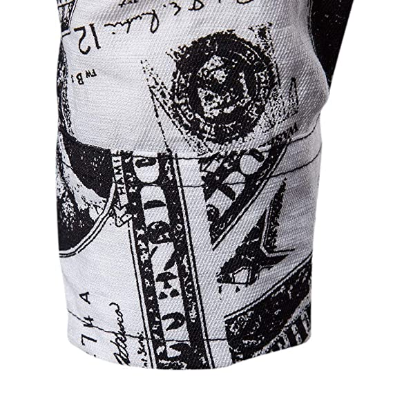 SFE Men Dollar Print Shirts, Mens Long Sleeve Stand Collar ...