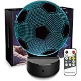 Night Light for Kids 3D Lamp Optical Illusion Football Lamp 7 Colors Changing with Remote Birthday Gifts for Boys Girls Kids Sport Fans Home Bedroom Nursery Decor, Soccer Ball Lamp 1.00W, 5.00V