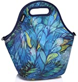 Vaschy Artist Designed Neoprene Insulated Lunch Bag Tote with Detachable Adjustable Shoulder Strap for Kids Women Hand-drawn Feathers
