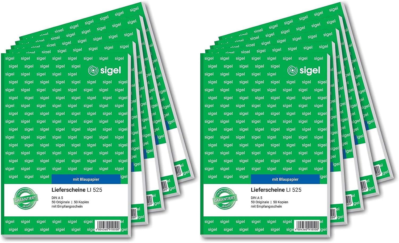 Sigel T1168 Aktion: 2x Lieferscheine LI525 A5 mit Blaupapier 1x Lieferscheine SD011 selbstdurchschreibend