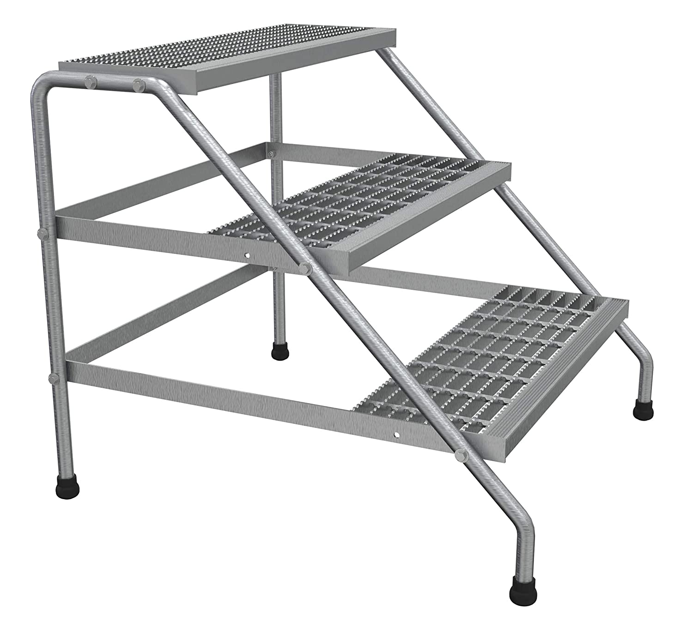 Knock Down Vestil SSA-3W-KD Aluminum Wide 3-Step Stand Silver