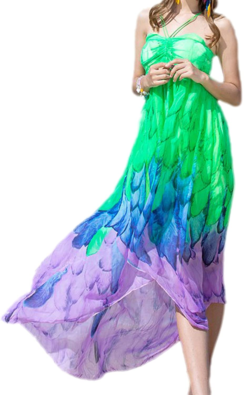 Zauberkirschen - Damen luftiges Strand Kleid Tunika asymmetrisch Neckholder mit Federn, XS-M, Viele Farben