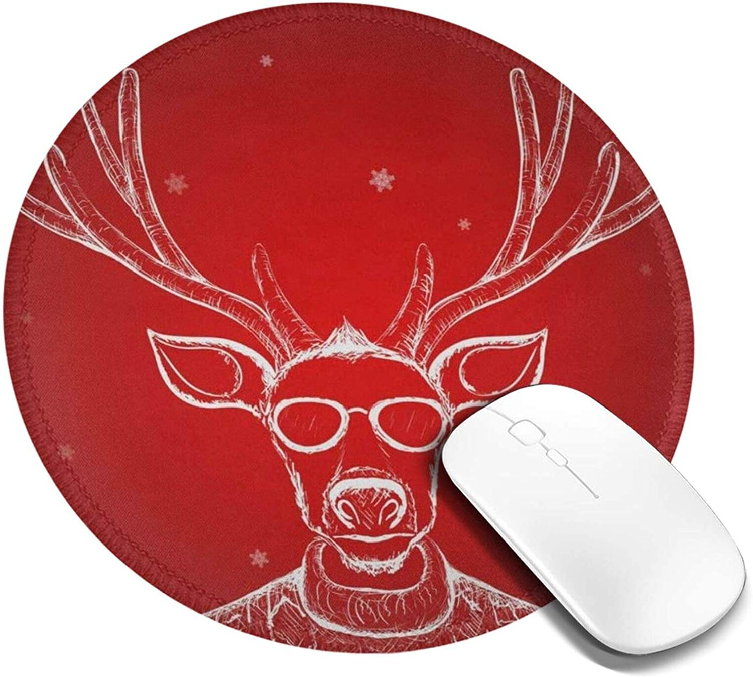 Mousepad Round Hand Drawn Deer Computer Laptop Mouse Pad Non Slip Mini Cute Small Circle Gaming Mouse Mat with Black Rubber Base for Women Kids Girls Boys Men 7.9in