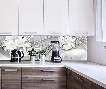 Kuchenruckwand Abstrakte Lilien Grau Silber Nischenruckwand