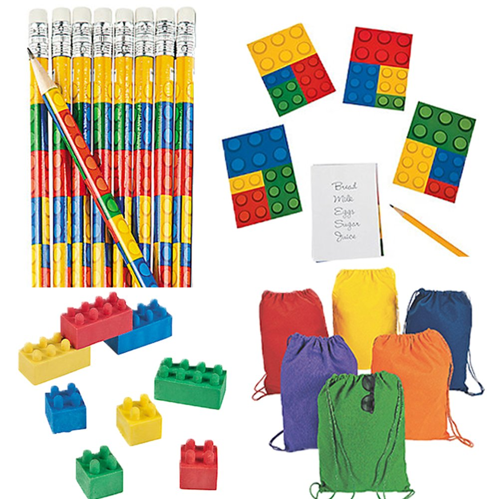 Back to School Lego Block Themed Supplies for 12 Includes Pencils, Erasers, Notepads, and Drawstring Bags