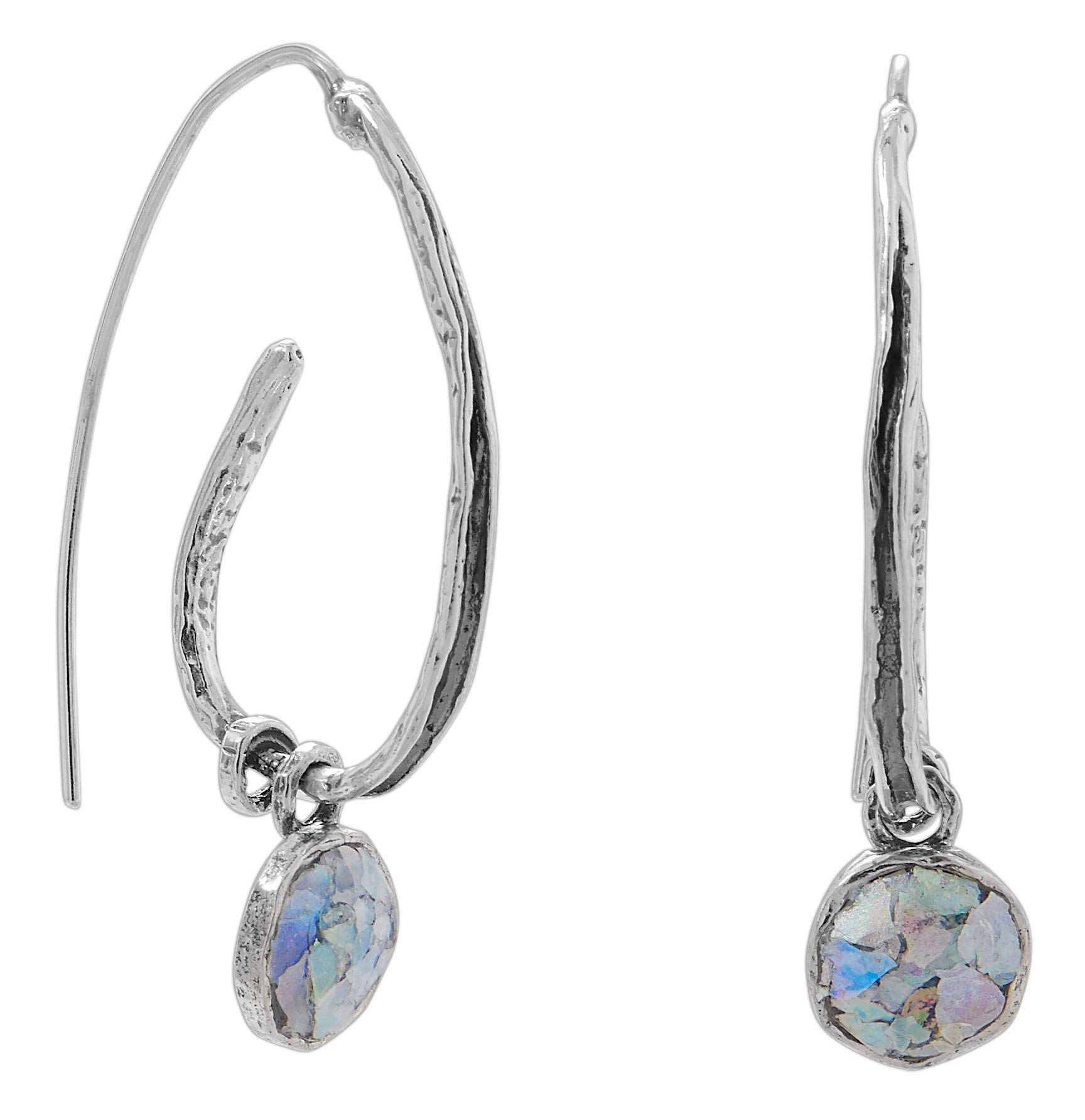 47.5mm Oxidized Sterling Silver Coil Design Earrings with Ancient Roman Glass Drop Charm