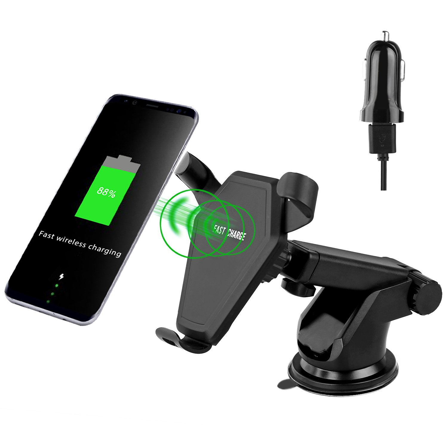 LWTER Qi Wireless Charger Car Mount Charging Pad for Samsung/iPhone/Smartphone