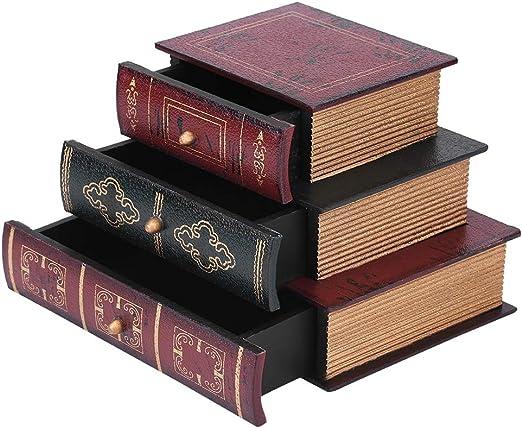 Duevin Caja de Almacenamiento de joyería Forma de Libro Joyero ...