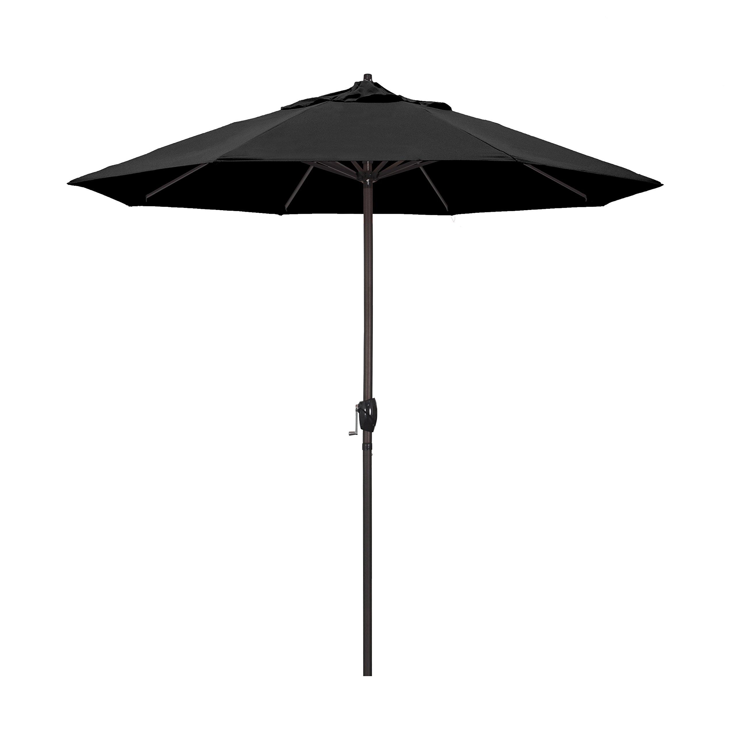 California Umbrella 9' Round Aluminum Market Umbrella, Crank Lift, Auto Tilt, Bronze Pole, Black Olefin