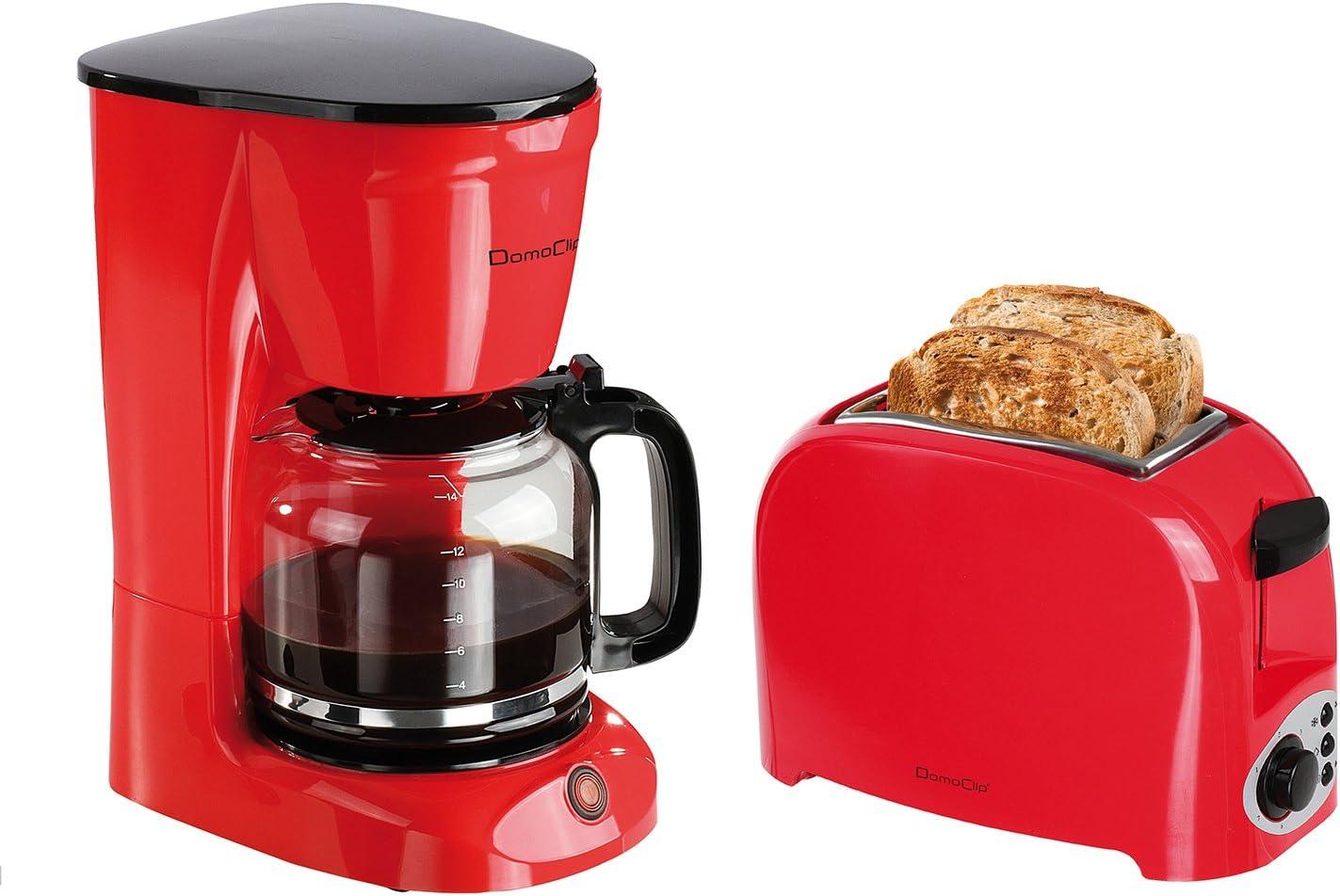 Set desayuno – Tostadora 2 ranuras rojo/negro + cafetera eléctrica ...