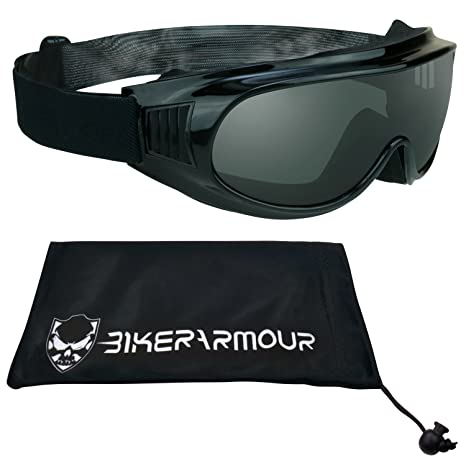 4a1d179b25 Amazon.com  Motorcycle Goggles Fit Over Rx Prescription Glasses with  Polycarbonate Safety Smoke Lenses
