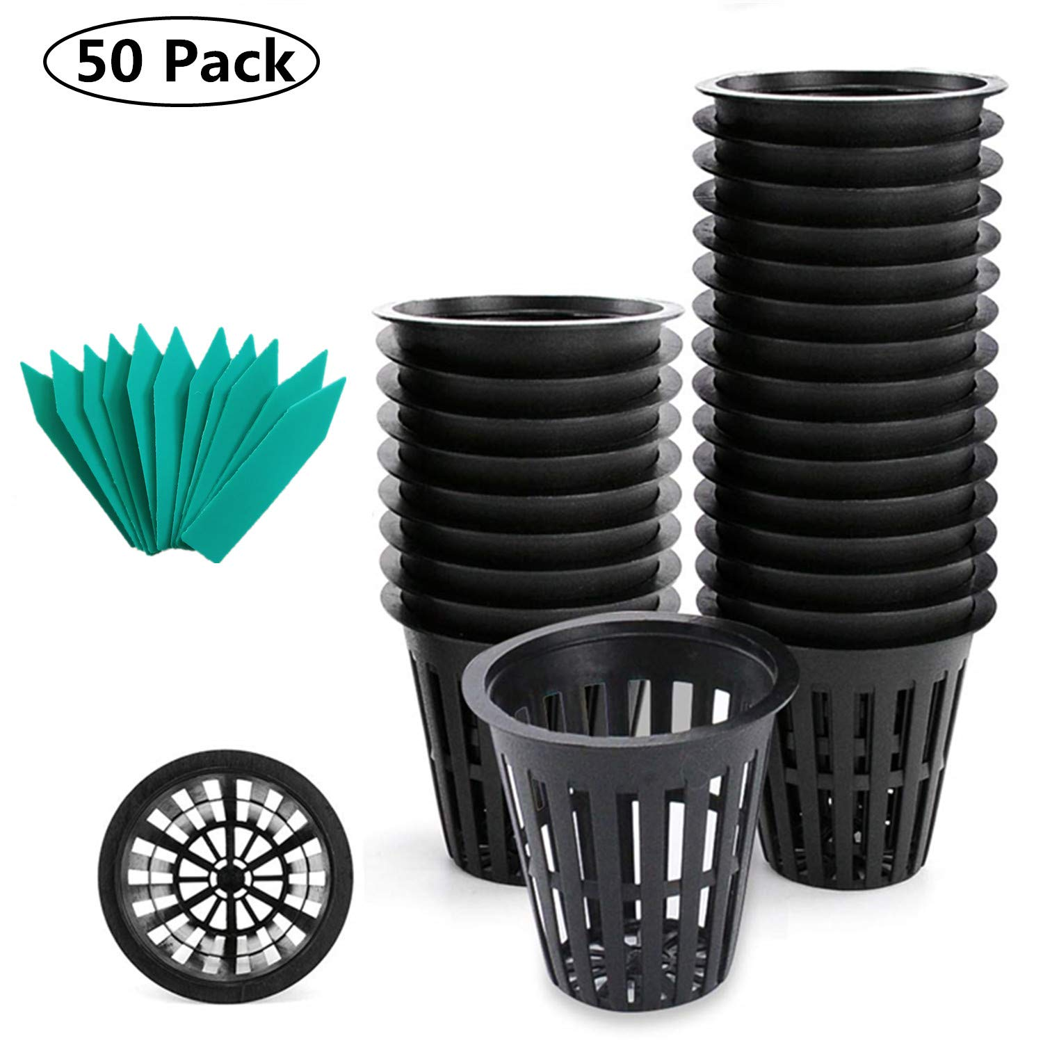 SYOURSELF Nursery Pots 3 inch net Pot, 50 Pack, Garden Slotted Mesh Plastic Plant Net Cup with 50 Plant Labels, Heavy Duty Wide Lip Round Bucket Basket for Hydroponics Black
