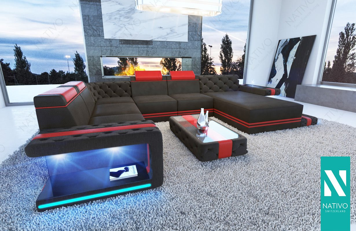 NATIVO© stoffsofa Imperial XXL mit LED Beleuchtung Sofa ...