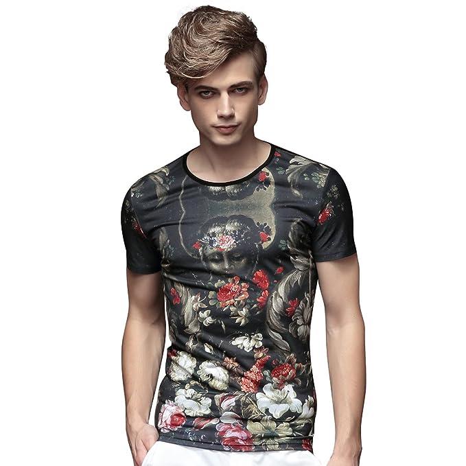 FANZHUAN Maglietta Uomo Manica Corta Moda Slim Fit Floreali  Amazon.it   Abbigliamento 27a1b70d046