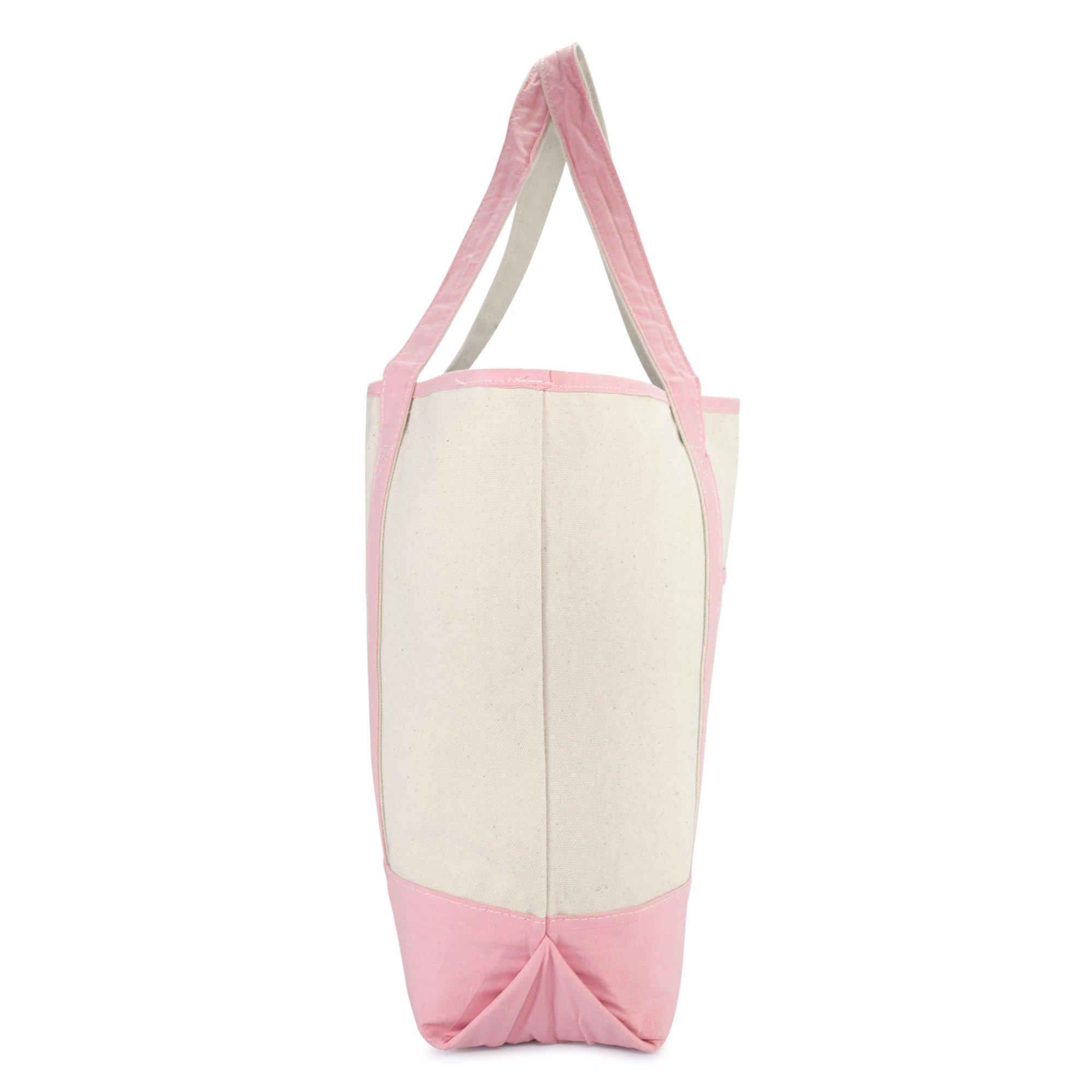 DALIX Women's Cotton Canvas Tote Bag Large Shoulder Bags Pink Monogram G by DALIX (Image #6)